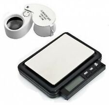 POCKET JEWELLERY SCALES 0.1/ 2000g + 40 x25 LED LOUPE SCRAP GOLD SILVER DIAMONDS