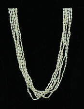 """Vtg Six Stand Fresh Water Pearl Necklace 36"""" Long 14K Yellow Gold Filigree Clasp"""