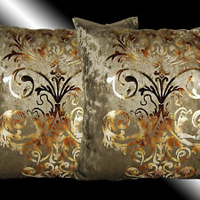 2X LUXURY SHINY BRONZE GOLD DAMASK VELVET THROW PILLOW CASES CUSHION COVERS 17""