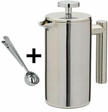 Stainless Steel Double Wall Cafetiere Filter Coffee Tea Maker Plunger Cappuccino