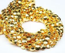 "Natural Gold Coated Pyrite Faceted Round Cut Coin Loose Gemstone Beads 14"" 7mm"