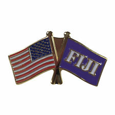 Phi Gamma Delta Fiji Flag and USA Flag Lapel Pin