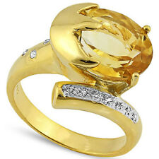STYLISH 4.40 CTW CITRINE & GENUINE DIAMOND PLATINUM OVER Y 925 Y STERLING RING