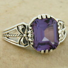 COLOR CHANGING SIM ALEXANDRITE ANTIQUE STYLE 925 STERLING SILVER RING SZ 9,#837