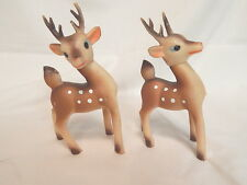 2 Vintage Rubber Rudolph Reindeer Heads Turn Glitter on Antlers/Tails Japan