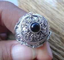 925 Solid Silver Balinese Poison Locket Ring Round Black Onyx Size 9-H114