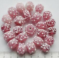 24 x mix of pink and white, bumpy, swirly, lampwork glass beads, 105 gm 98