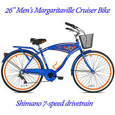 "26"" Margaritaville Beach Comfort Bicycle Men's Cruiser Bike Blue Steel 7-Speed"