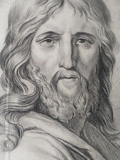 Grand Dessin ancien original-Visage du Christ-JESUS-XVIII/XIXe- OLD DRAWING