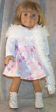 """Doll Clothes fit American Girl 18"""" inch Ice Skate Bodysuit 3pcs Snowmen Pink Whi"""