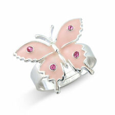 Children pretty pink butterfly ring, adjustable.