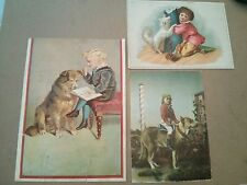 #ORIGINAL 1800's VICTORIAN Lot Of 3 Trade Cards DOG & KIDS Ad 5.5 x 7.5""