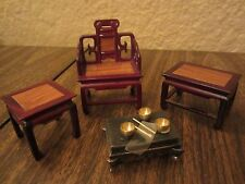 Dollhouse Furniture Miniature Asian Inspired Sofa Chair 3 Tables Lot of 4