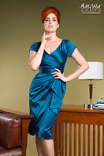 Pinup Girl Couture Dress 50s Rockabilly Dress Blue Ava Teal Dress Sz L