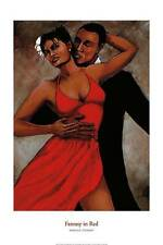 """African American Art """"Fantasy in Red"""" Print of Black Couple by Monica Stewart"""