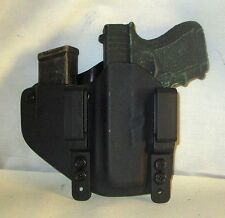 Custom Kydex IWB LEFT HAND Holster with extra Mag Carrier for Glock 26/27/33