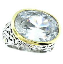 Large Clear Stone Two-Tone Plated Antique Design Ladies Ring Size 7