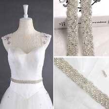 Crystal Bridal Belt Wedding Dress Sash Diamante Trim Lique Beaded Waistband