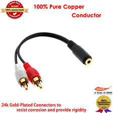 Gold 3.5mm Stereo Female to RCA Male Y-Cable (Discontinued by Manufacturer)
