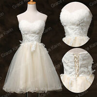 Short White Organza Bridal Gown Wedding Dresses Stock Size 6 8 10 12 14 16 18 20