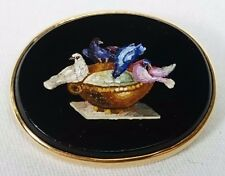 Pliny's Doves Micro Mosaic Brooch Pin in Solid 10 Karat Gold Setting, Italy