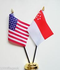 United States of America USA & Singapore Double Friendship Table Flag Set