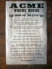 "(683) OLD WEST BROTHEL ACME WHORE HOUSE RULES MAN CAVE BAR DECOR POSTER 11""x17"""