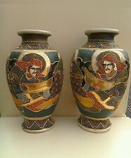 ANTIQUE PAIR OF MORIAGE VASES WITH STAMP ON BASE