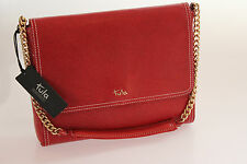 Tula Saffiano Originals Red Leather Shoulder Bag With Chain Strap BNWT RRP £119