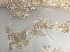 Champagne Multi Color Flowers Embroider On A Nude Mesh Lace Fabric-wedding-prom
