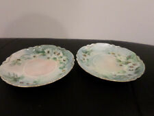 2 Antique Limoges France Haviland  Floral Dishes/Saucers Hand Painted