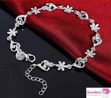 925 Sterling Silver Love Heart and Daisy Bracelet Jewellery Womens Ladies Gift