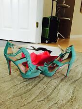 Paris Hilton Aqua suede sandals size 8M