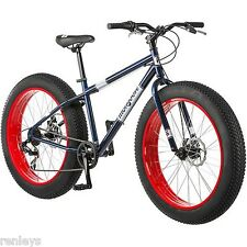"26"" Mongoose Dolomite Men's 7-speed Fat Tire Mountain Bike, Navy Blue/Red NEW"