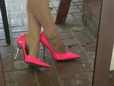 *NeoN HoT PiNk* EUC 7.5 Pointy Toe Stiletto Heels PUMP CARRIE GuESS Silver Spike