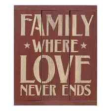 "Red Painted Wooden 3-Panel Sign ""Family Where Love Never Ends"""