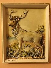 "Coloured Ceramic Relief Tile of a Stag / Deer Titled ""On The Alert"" - Marked"
