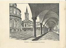 Stampa antica BOLOGNA portico Chiesa di San Domenico 1892 Old antique print