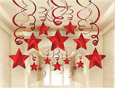 30 RED SHOOTING STARS Hanging SWIRL Decorations Wedding Birthday Party Supplies