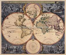 Visscher Antiguo Vintage Color Azul Color Antiguo Mapa Del Mundo plan Doble Hemisferio