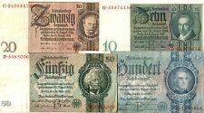 RARE COMPLETE COLLECTION of 1ST ISSUE NAZI CURRENCY 1933-35! XLNT COND! + BONUS!