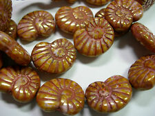 10 - 17mm Pink Gold Picasso Snail Shell Swirl Spiral Czech Glass Beads