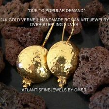 ANCIENT STYLE HAMMERED EARRINGS 24K YELLOW GOLD OVER STERLING SILVER BY OMER