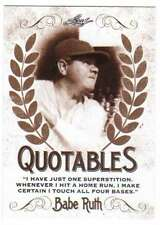2016 Leaf Babe Ruth Collection Quotables Insert #Q-07 Babe Ruth