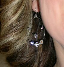 CLEAR AB Crystal Earrings Sterling Silver Floating Chandelier Swarovski Elements