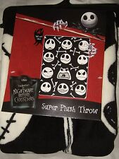 The Nightmare Before Xmas B&W Jack Skellington Bones Disney Plush Throw Blanket
