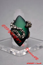 $275 Alexis Bittar 'Lucite - Imperial Noir' Snake Crystal Ring Size 8 Leaf Green
