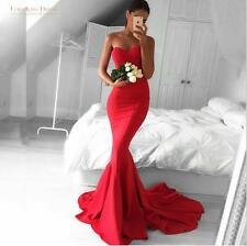 Red Satin Sweetheart Mermaid Celebrity Pageant Gown Prom Evening Party Dress New