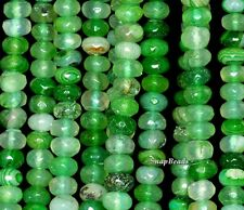 """8X5MM GREEN AGATE GEMSTONE STRIPED FACETED RONDELLE 8X5MM LOOSE BEADS 7"""""""