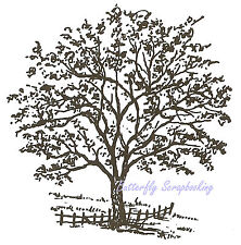 Tree with Fence Wood Mounted Rubber Stamp NORTHWOODS Rubber Stamp F1698 New